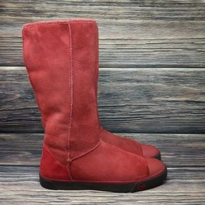 UGG Australia Delaine 1886 Tall Burgundy Red Fur 9